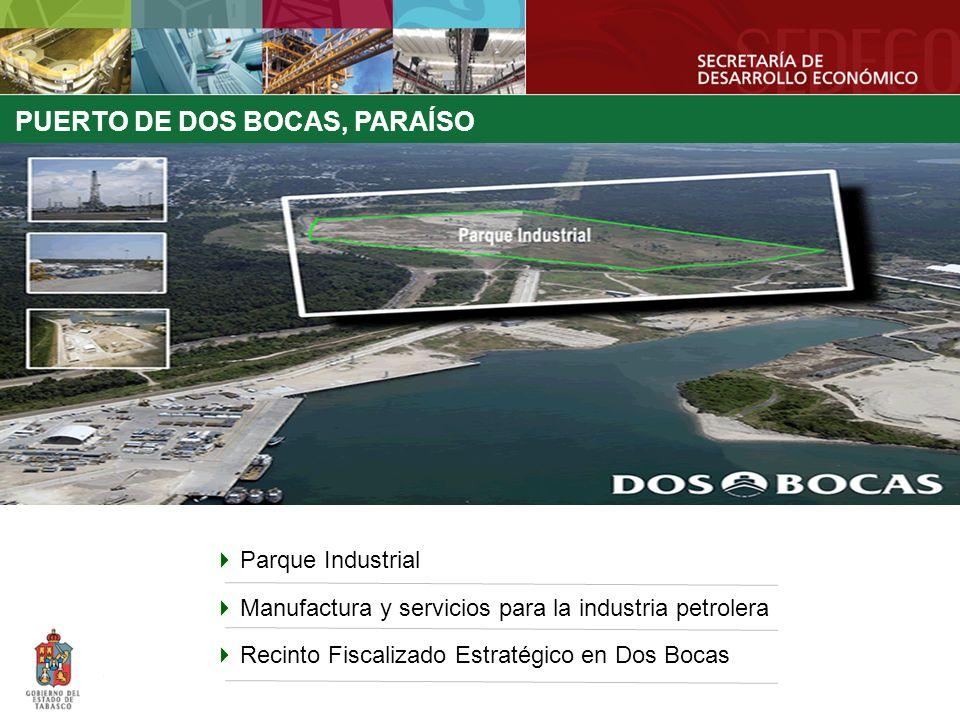 PUERTO DE DOS BOCAS, PARAÍSO Parque Industrial Manufactura y servicios para la industria petrolera Recinto Fiscalizado Estratégico en Dos Bocas