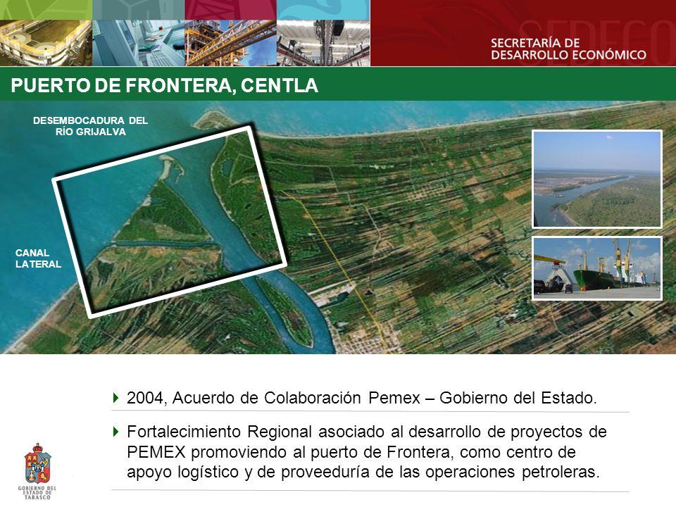 PUERTO DE FRONTERA, CENTLA Escolleras DESEMBOCADURA DEL RÍO GRIJALVA CANAL LATERAL 2004, Acuerdo de Colaboración Pemex – Gobierno del Estado. Fortalec