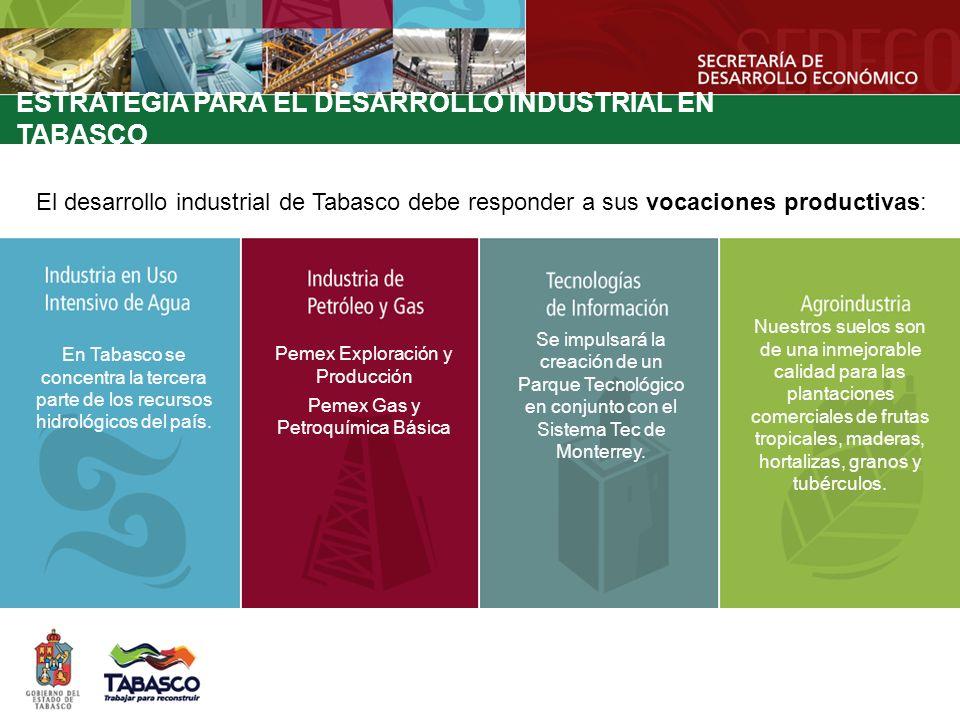 El desarrollo industrial de Tabasco debe responder a sus vocaciones productivas: ESTRATEGIA PARA EL DESARROLLO INDUSTRIAL EN TABASCO En Tabasco se con