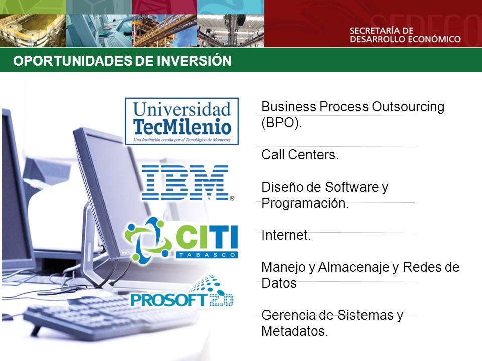 OPORTUNIDADES DE INVERSIÓN Business Process Outsourcing (BPO). Call Centers. Diseño de Software y Programación. Internet. Manejo y Almacenaje y Redes