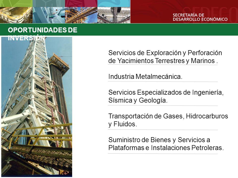 OPORTUNIDADES DE INVERSIÓN Servicios de Exploración y Perforación de Yacimientos Terrestres y Marinos. Industria Metalmecánica. Servicios Especializad