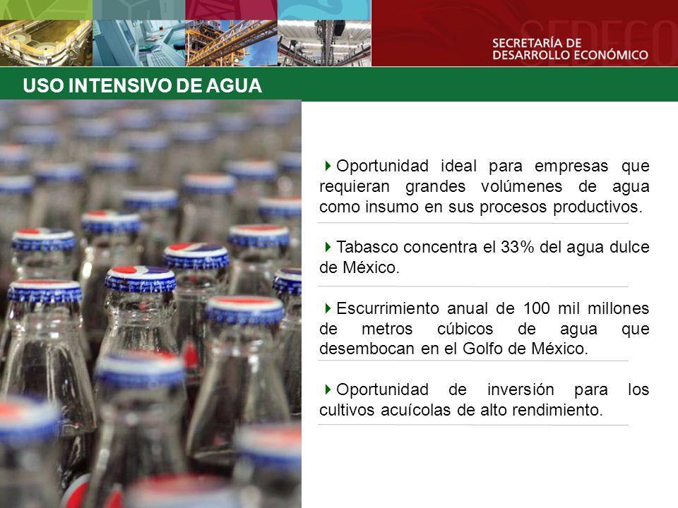 Oportunidad ideal para empresas que requieran grandes volúmenes de agua como insumo en sus procesos productivos. Tabasco concentra el 33% del agua dul