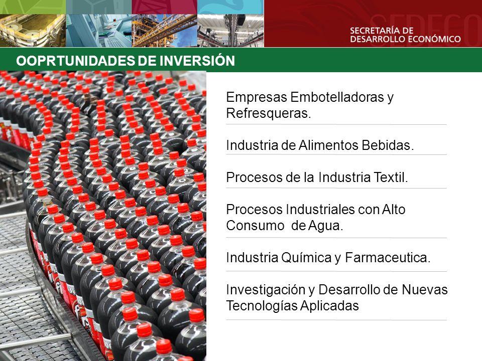 OOPRTUNIDADES DE INVERSIÓN Empresas Embotelladoras y Refresqueras. Industria de Alimentos Bebidas. Procesos de la Industria Textil. Procesos Industria