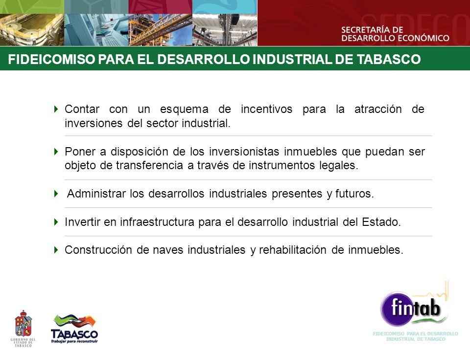 Contar con un esquema de incentivos para la atracción de inversiones del sector industrial. Poner a disposición de los inversionistas inmuebles que pu
