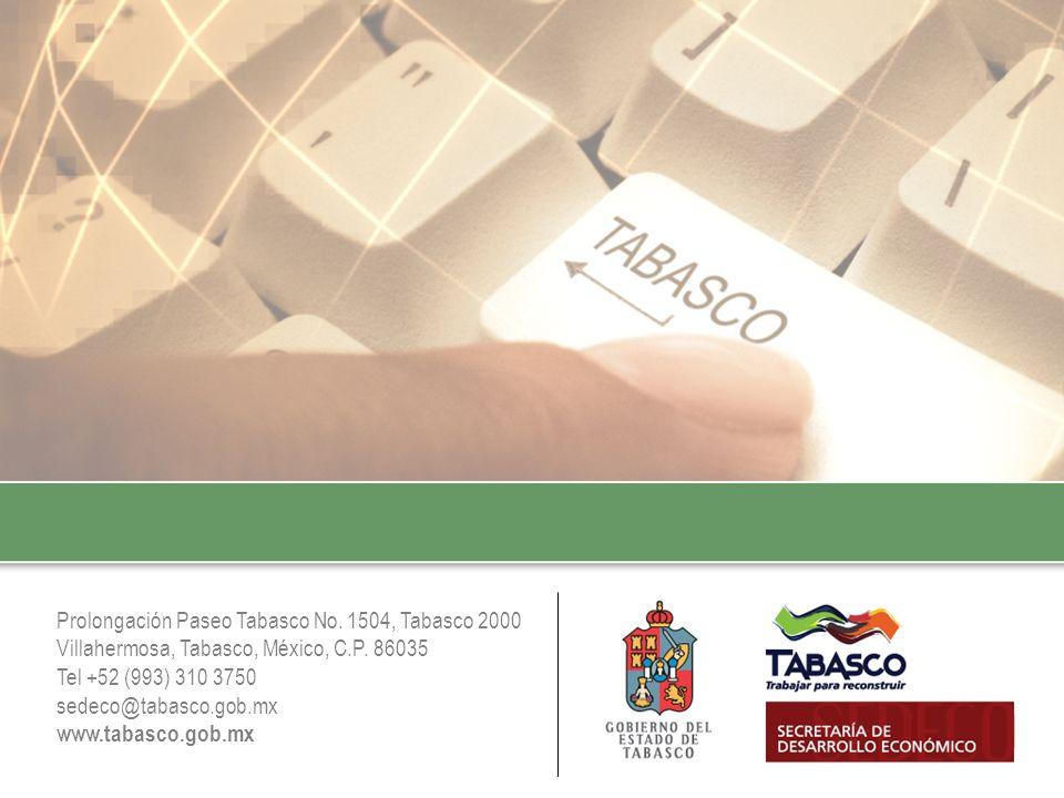 Prolongación Paseo Tabasco No. 1504, Tabasco 2000 Villahermosa, Tabasco, México, C.P. 86035 Tel +52 (993) 310 3750 sedeco@tabasco.gob.mx www.tabasco.g