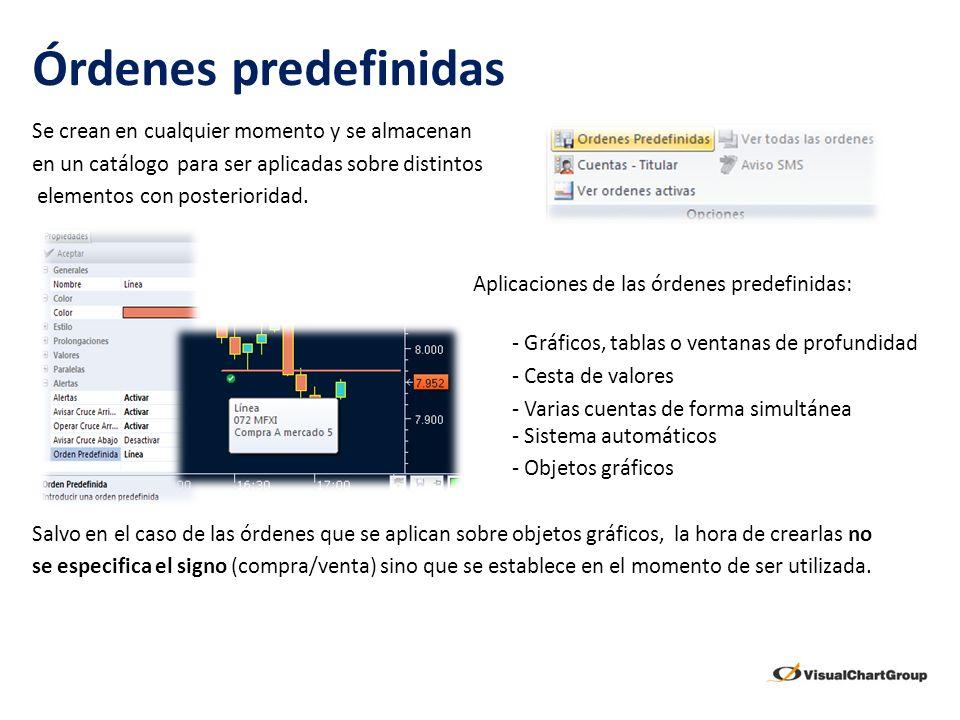 Órdenes predefinidas Se crean en cualquier momento y se almacenan en un catálogo para ser aplicadas sobre distintos elementos con posterioridad. Aplic
