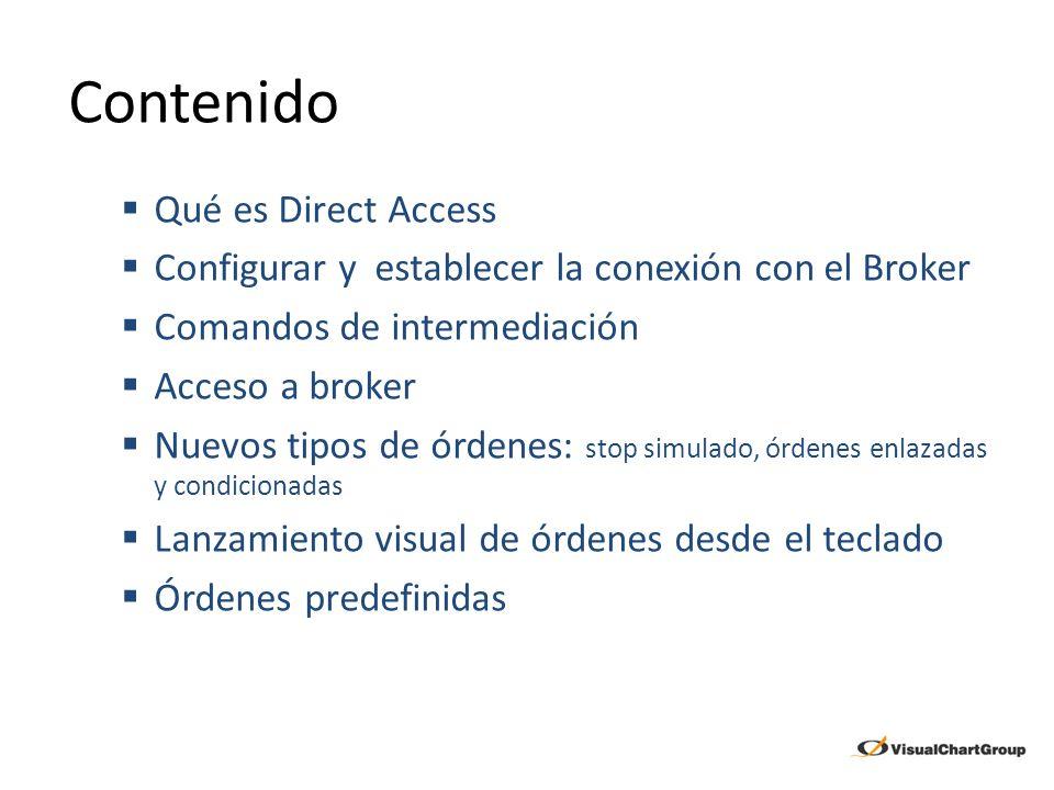 Contenido Qué es Direct Access Configurar y establecer la conexión con el Broker Comandos de intermediación Acceso a broker Nuevos tipos de órdenes: s