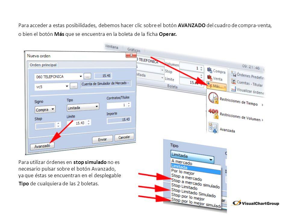 Son útiles cuando el broker o el mercado no soporta este tipo de órdenes (stop a mercado, por lo mejor y limitado) ya que Visual Chart V simula el funcionamiento.