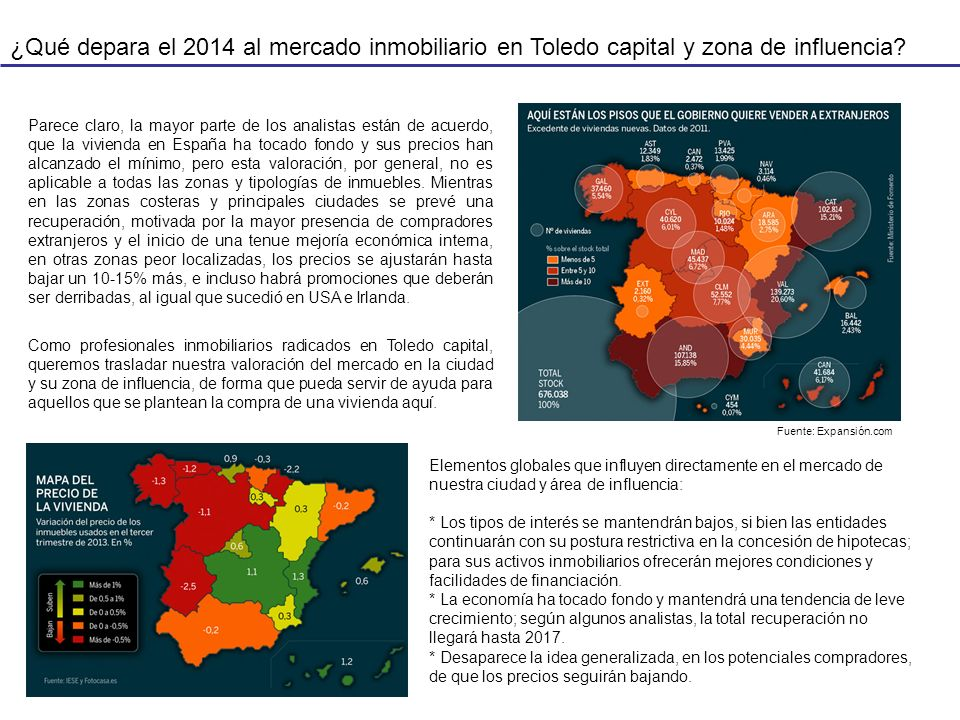 ¿Qué depara el 2014 al mercado inmobiliario en Toledo capital y zona de influencia? Parece claro, la mayor parte de los analistas están de acuerdo, qu