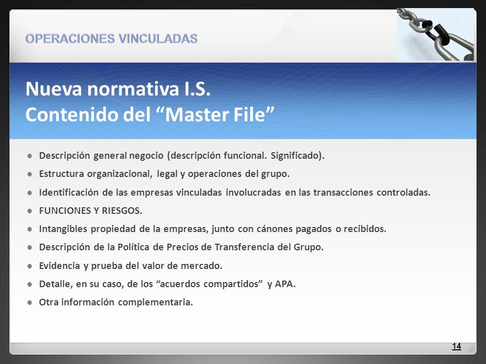 Nueva normativa I.S. Contenido del Master File Descripción general negocio (descripción funcional. Significado). Estructura organizacional, legal y op