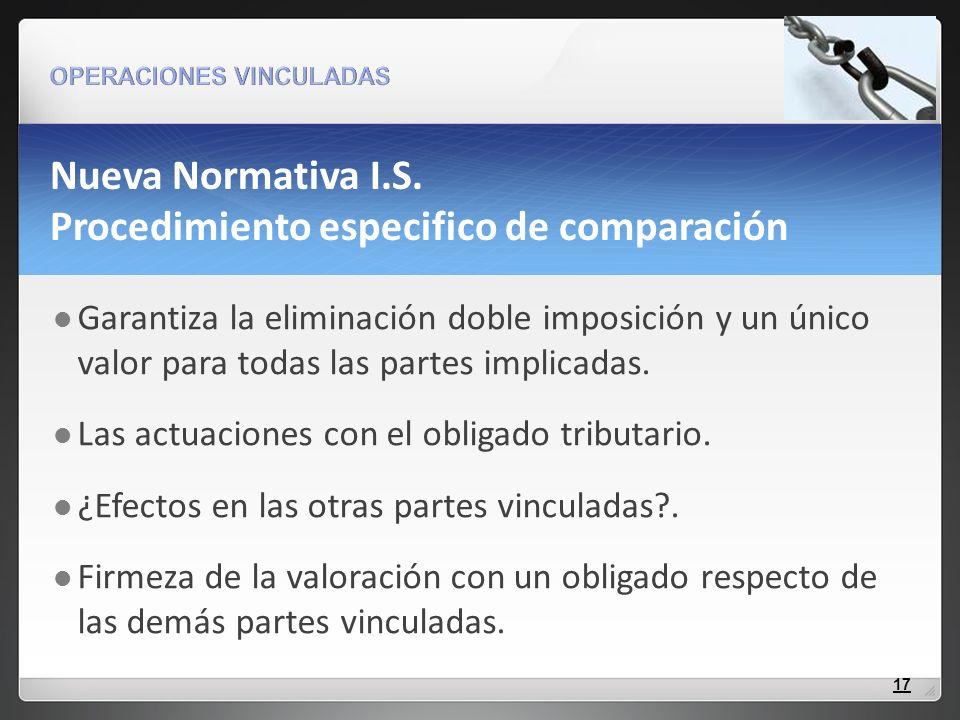 Nueva Normativa I.S. Procedimiento especifico de comparación Garantiza la eliminación doble imposición y un único valor para todas las partes implicad