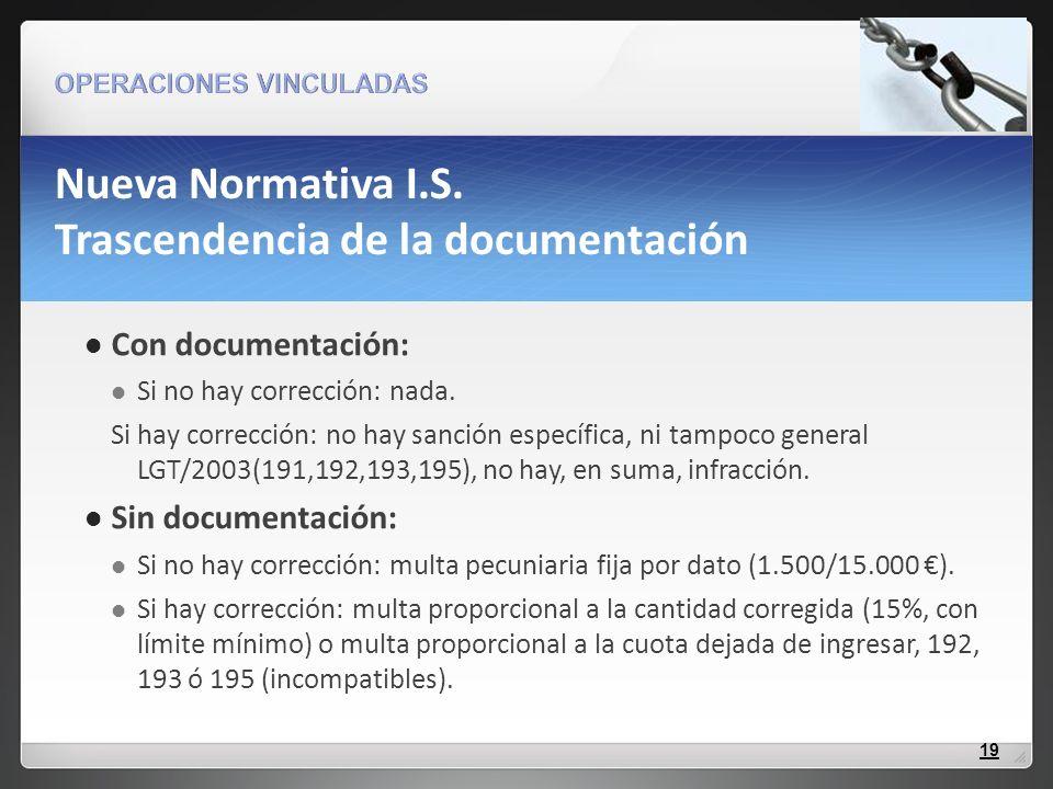 Nueva Normativa I.S. Trascendencia de la documentación Con documentación: Si no hay corrección: nada. Si hay corrección: no hay sanción específica, ni