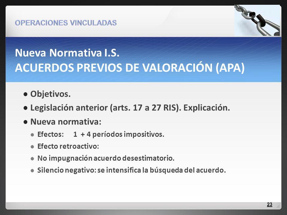 Objetivos. Legislación anterior (arts. 17 a 27 RIS). Explicación. Nueva normativa: Efectos: 1 + 4 períodos impositivos. Efecto retroactivo: No impugna