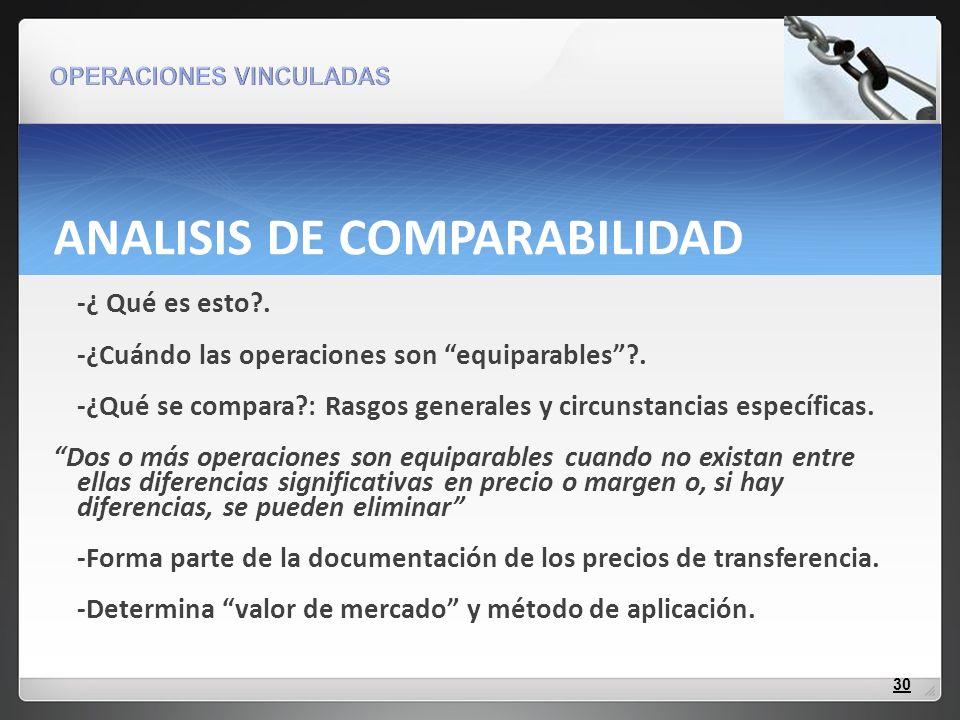 ANALISIS DE COMPARABILIDAD -¿ Qué es esto?. -¿Cuándo las operaciones son equiparables?. -¿Qué se compara?: Rasgos generales y circunstancias específic