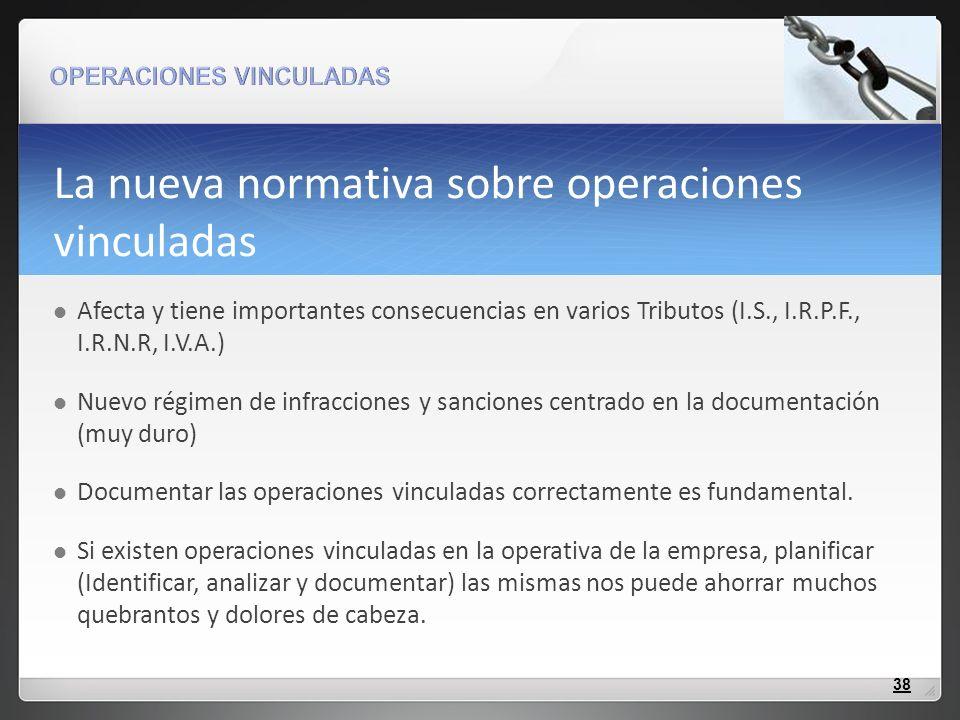 La nueva normativa sobre operaciones vinculadas Afecta y tiene importantes consecuencias en varios Tributos (I.S., I.R.P.F., I.R.N.R, I.V.A.) Nuevo ré