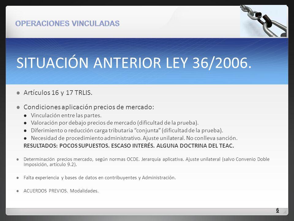 NUEVA NORMATIVA APLICABLE -LEGISLACIÓN VIGENTE: a) Nuevos artículos 16, 17 y 20 TRLIS, derivados de la Ley 36/2006 (d.