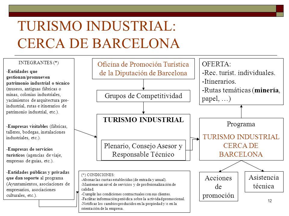 12 TURISMO INDUSTRIAL: CERCA DE BARCELONA Oficina de Promoción Turística de la Diputación de Barcelona Grupos de Competitividad TURISMO INDUSTRIAL Ple