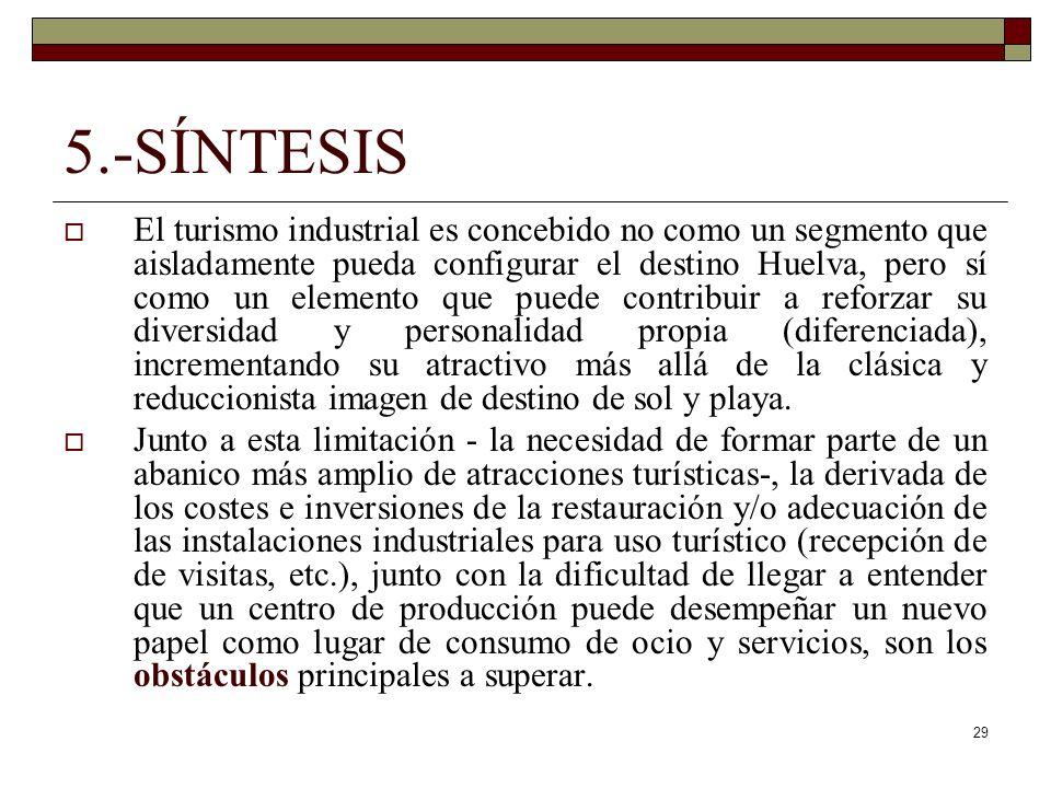 29 5.-SÍNTESIS El turismo industrial es concebido no como un segmento que aisladamente pueda configurar el destino Huelva, pero sí como un elemento qu