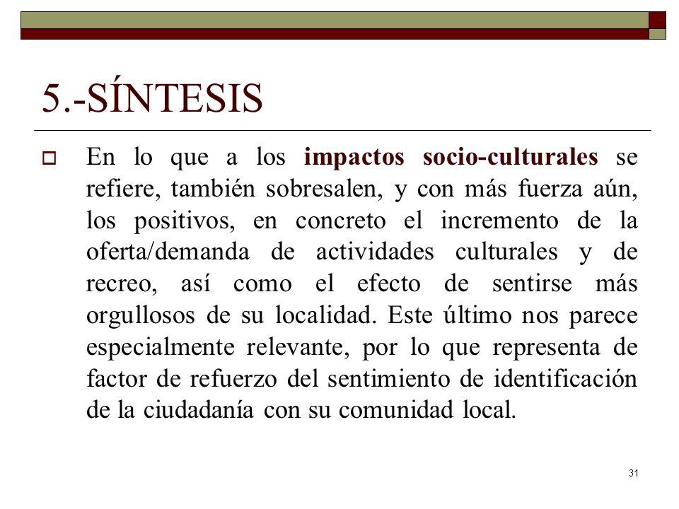 31 5.-SÍNTESIS En lo que a los impactos socio-culturales se refiere, también sobresalen, y con más fuerza aún, los positivos, en concreto el increment