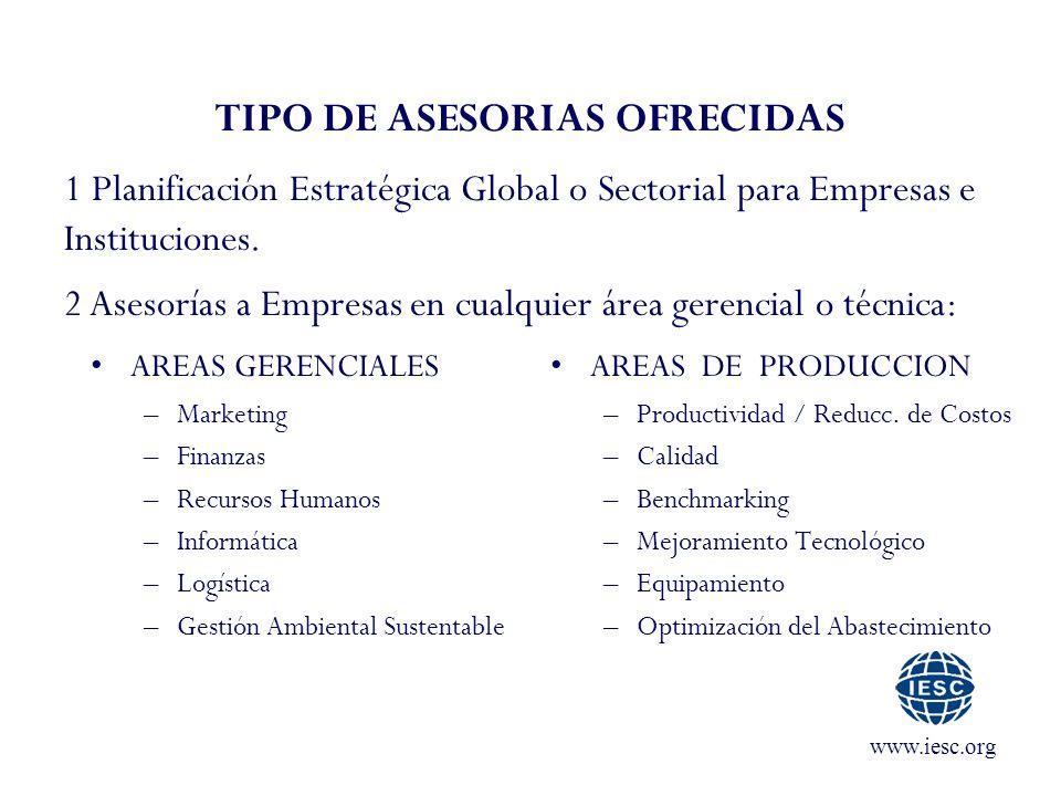 www.iesc.org TIPO DE ASESORIAS OFRECIDAS AREAS GERENCIALES –Marketing –Finanzas –Recursos Humanos –Informática –Logística –Gestión Ambiental Sustentab