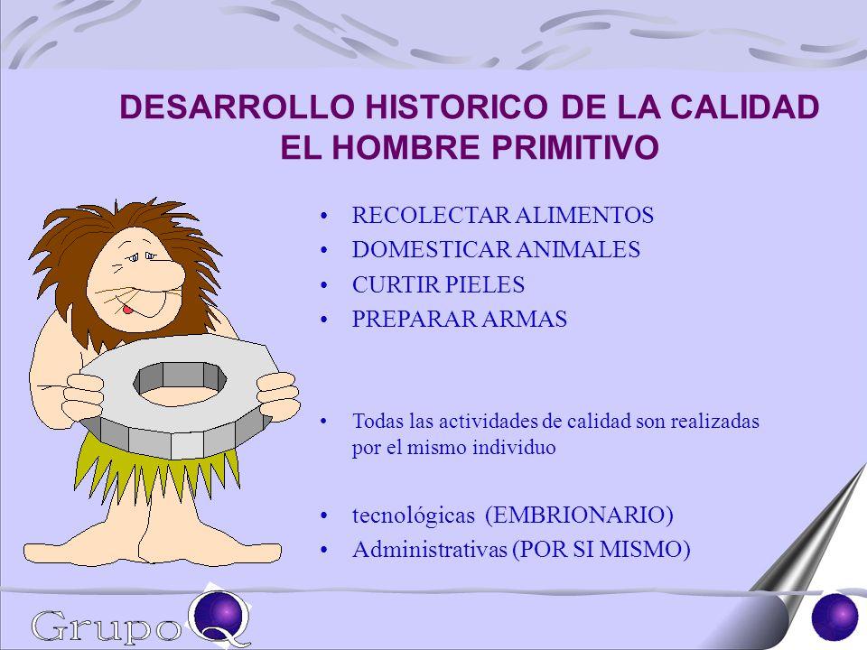 DESARROLLO HISTORICO DE LA CALIDAD EL HOMBRE PRIMITIVO RECOLECTAR ALIMENTOS DOMESTICAR ANIMALES CURTIR PIELES PREPARAR ARMAS Todas las actividades de calidad son realizadas por el mismo individuo tecnológicas (EMBRIONARIO) Administrativas (POR SI MISMO)