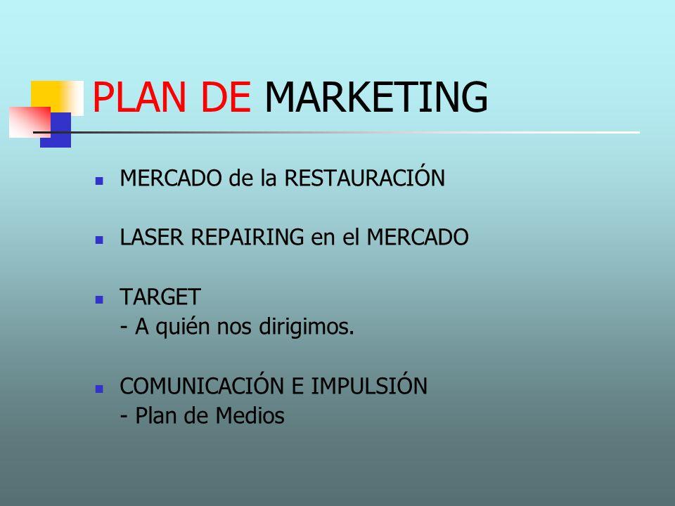 PLAN DE MARKETING MERCADO de la RESTAURACIÓN LASER REPAIRING en el MERCADO TARGET - A quién nos dirigimos. COMUNICACIÓN E IMPULSIÓN - Plan de Medios