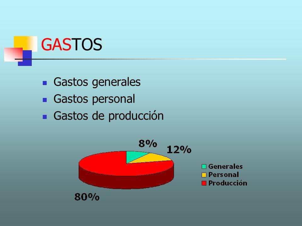 GASTOS GENERALES Alquiler Gastos jurídico administrativos Marketing y publicidad Material oficina Transporte Seguros Suministros