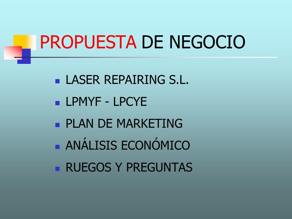 PROPUESTA DE NEGOCIO LASER REPAIRING S.L. LPMYF - LPCYE PLAN DE MARKETING ANÁLISIS ECONÓMICO RUEGOS Y PREGUNTAS