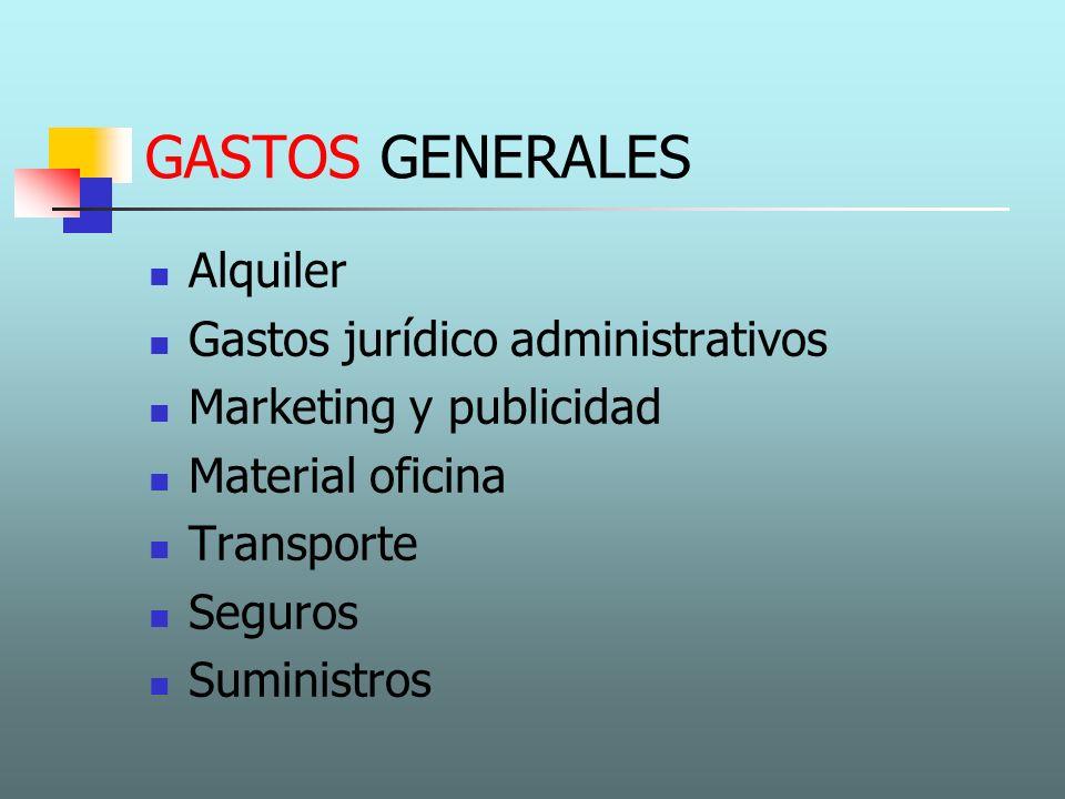 GASTOS DE PERSONAL Plantilla de 8 empleados 2 directivos: 1.200 / mes 2 comerciales: 600 / mes (+ comisión ventas) 2 ingenieros: 1.200 / mes 2 obreros especializados: 800 / mes