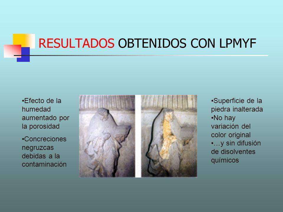 RESULTADOS OBTENIDOS CON LPMYF Superficie de la piedra inalterada No hay variación del color original …y sin difusión de disolventes químicos Efecto d