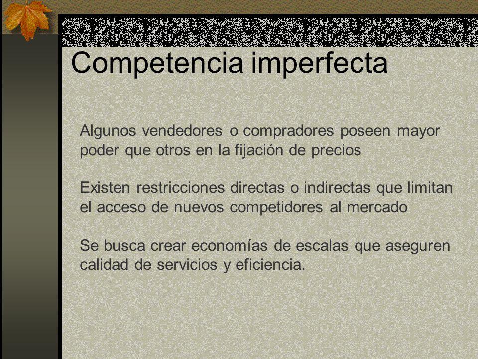 Competencia imperfecta Algunos vendedores o compradores poseen mayor poder que otros en la fijación de precios Existen restricciones directas o indire