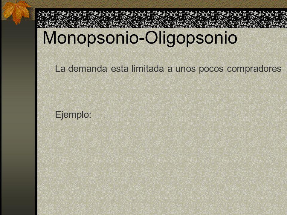 Monopsonio-Oligopsonio La demanda esta limitada a unos pocos compradores Ejemplo: