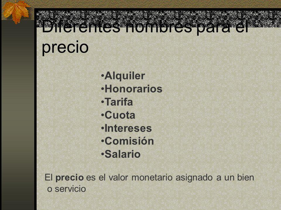 Diferentes nombres para el precio Alquiler Honorarios Tarifa Cuota Intereses Comisión Salario El precio es el valor monetario asignado a un bien o ser