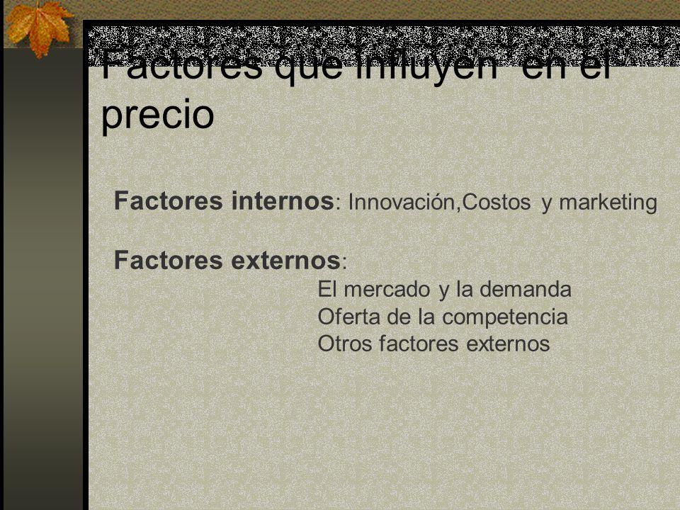 Factores que influyen en el precio Factores internos : Innovación,Costos y marketing Factores externos : El mercado y la demanda Oferta de la competen