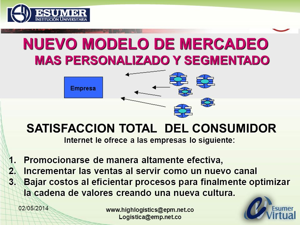 02/05/2014 www.highlogistics@epm.net.co Logistica@emp.net.co NUEVO MODELO DE MERCADEO MAS PERSONALIZADO Y SEGMENTADO SATISFACCION TOTAL DEL CONSUMIDOR