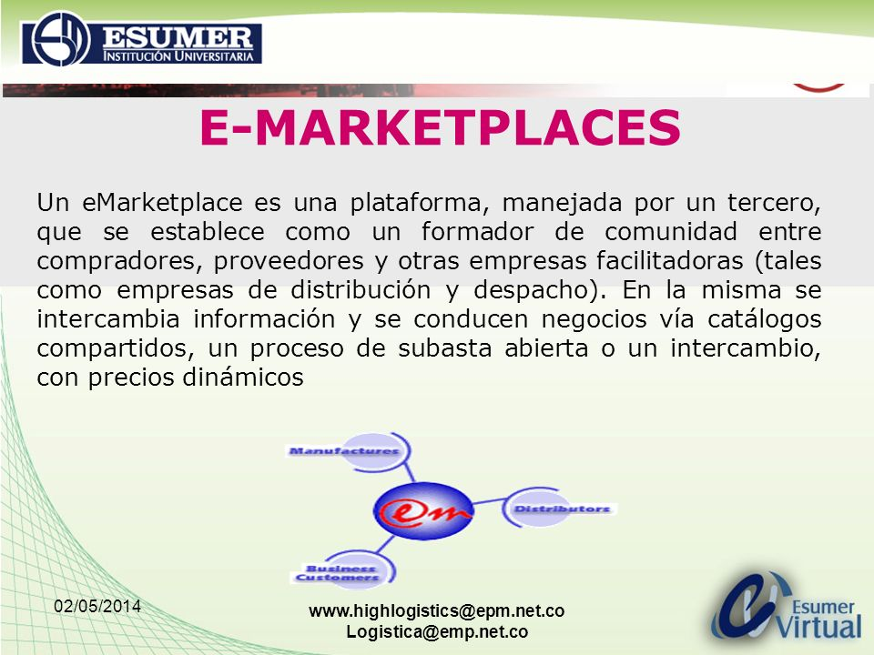 02/05/2014 www.highlogistics@epm.net.co Logistica@emp.net.co Un eMarketplace es una plataforma, manejada por un tercero, que se establece como un form