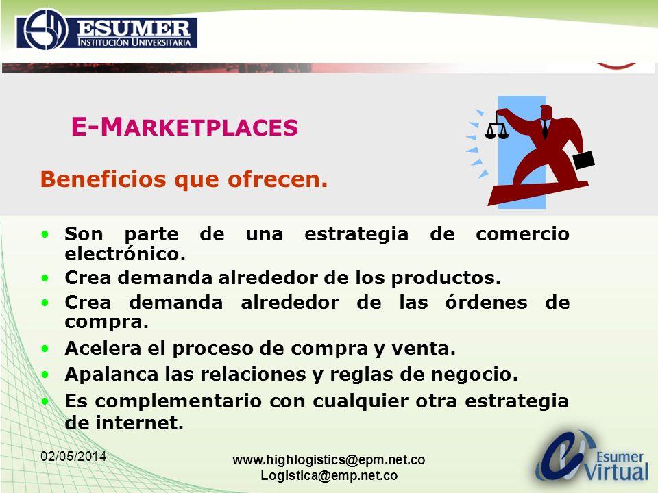 02/05/2014 www.highlogistics@epm.net.co Logistica@emp.net.co E-M ARKETPLACES Beneficios que ofrecen. Son parte de una estrategia de comercio electróni