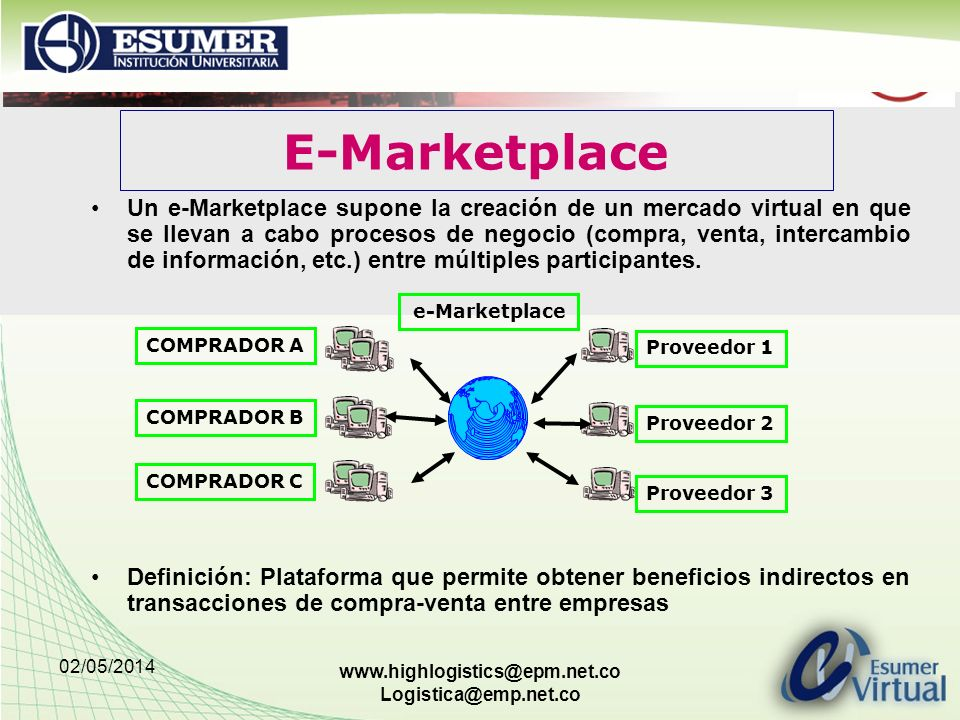 02/05/2014 www.highlogistics@epm.net.co Logistica@emp.net.co Un e-Marketplace supone la creación de un mercado virtual en que se llevan a cabo proceso