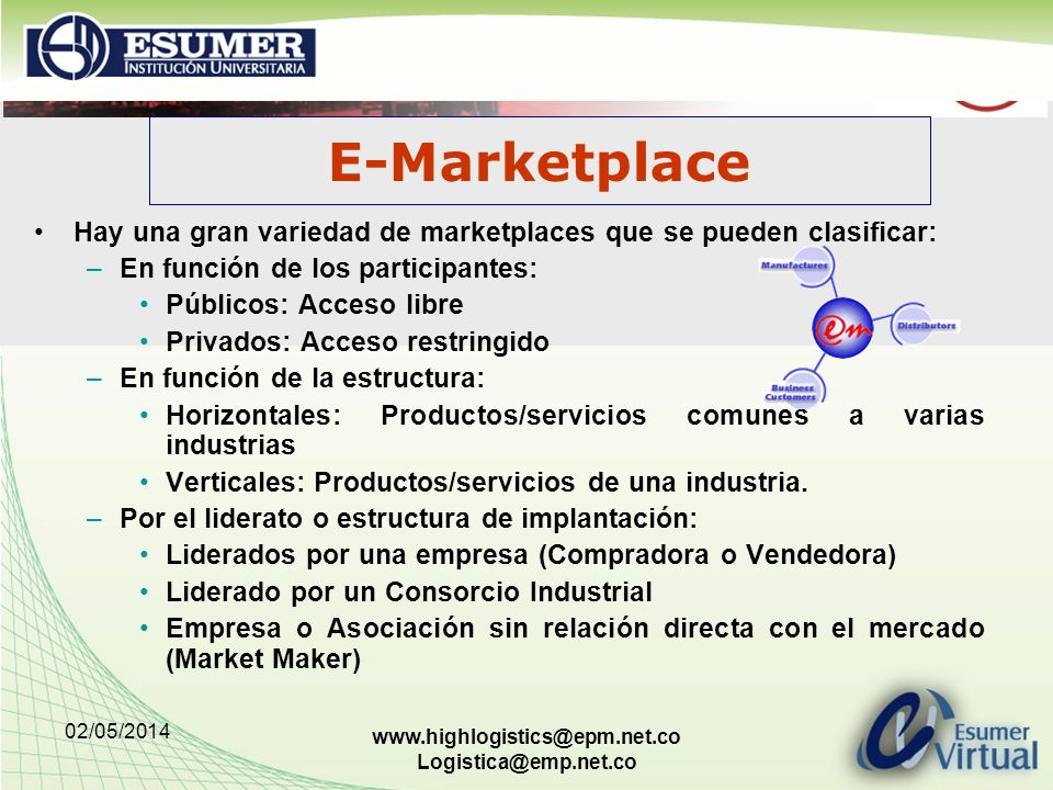 02/05/2014 www.highlogistics@epm.net.co Logistica@emp.net.co Hay una gran variedad de marketplaces que se pueden clasificar: –En función de los participantes: Públicos: Acceso libre Privados: Acceso restringido –En función de la estructura: Horizontales: Productos/servicios comunes a varias industrias Verticales: Productos/servicios de una industria.