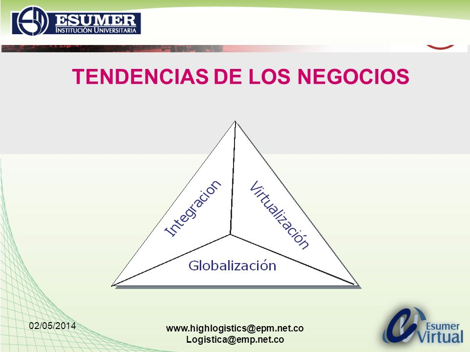 02/05/2014 www.highlogistics@epm.net.co Logistica@emp.net.co TENDENCIAS DE LOS NEGOCIOS