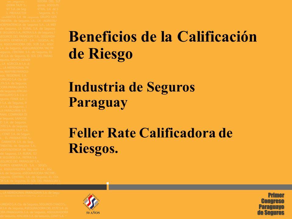 1 02/05/2014 Beneficios de la Calificación de Riesgo Industria de Seguros Paraguay Feller Rate Calificadora de Riesgos.