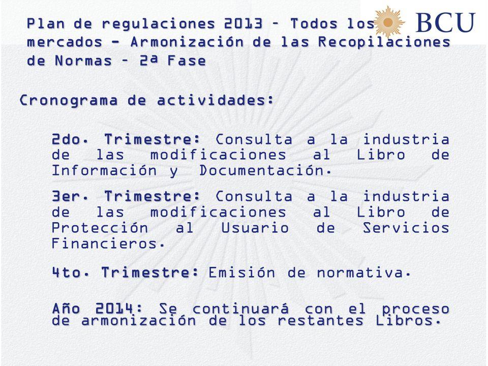 Plan de regulaciones 2013 – Todos los mercados - Armonización de las Recopilaciones de Normas – 2ª Fase Cronograma de actividades: 2do. Trimestre: 2do