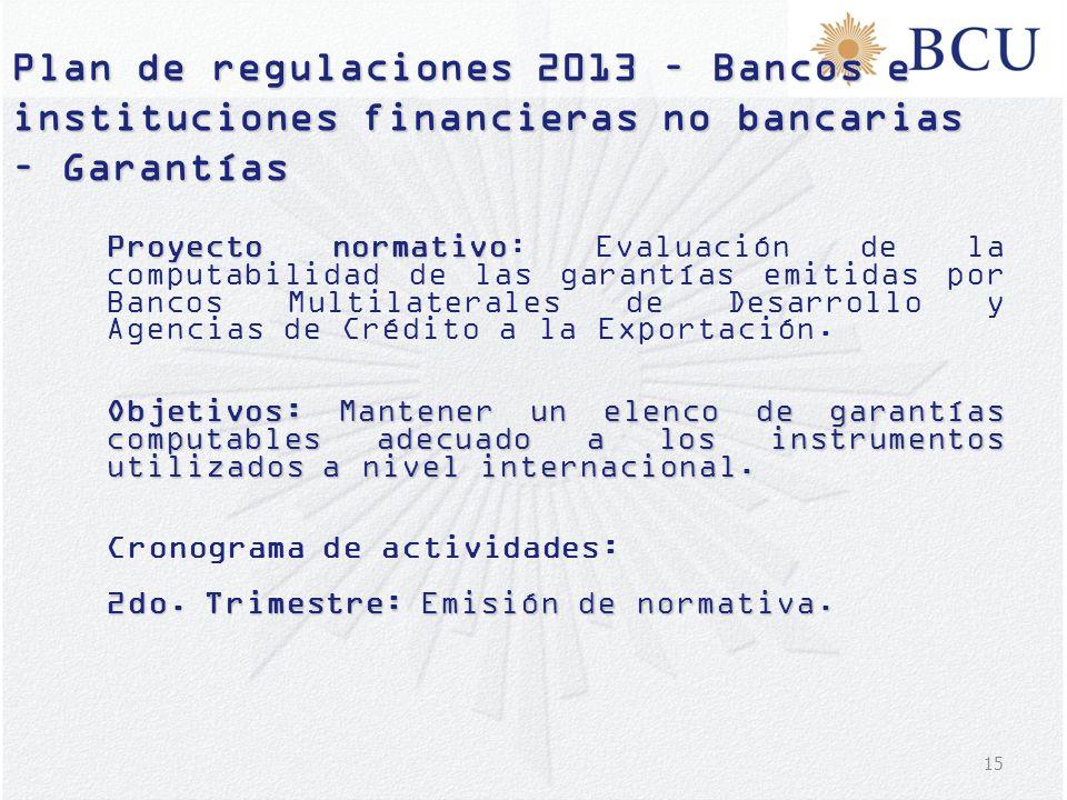 15 Plan de regulaciones 2013 – Bancos e instituciones financieras no bancarias – Garantías Proyecto normativo Proyecto normativo: Evaluación de la com