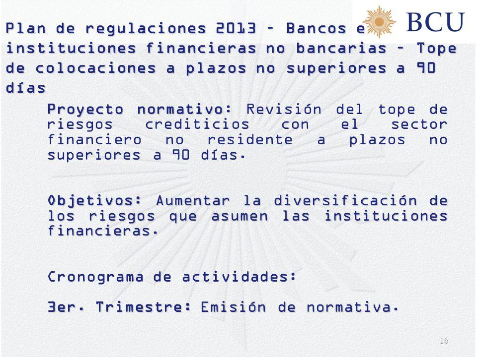 16 Plan de regulaciones 2013 – Bancos e instituciones financieras no bancarias – Tope de colocaciones a plazos no superiores a 90 días Proyecto normat