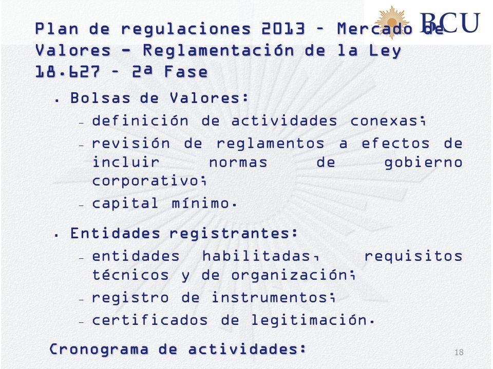 18 Plan de regulaciones 2013 – Mercado de Valores - Reglamentación de la Ley 18.627 – 2ª Fase Bolsas de Valores: – definición de actividades conexas;