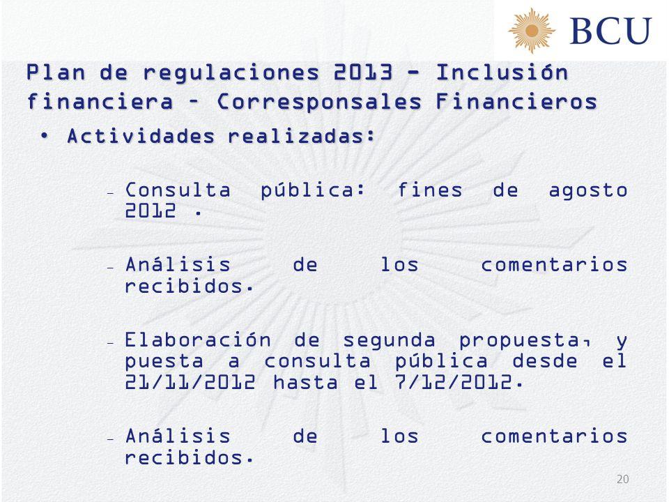 20 Plan de regulaciones 2013 - Inclusión financiera – Corresponsales Financieros Actividades realizadas:Actividades realizadas: – Consulta pública: fi