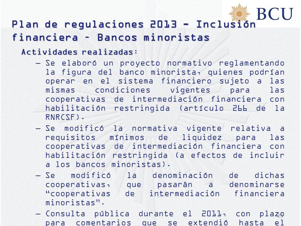 23 Plan de regulaciones 2013 - Inclusión financiera – Bancos minoristas Actividades realizadas Actividades realizadas: –Se elaboró un proyecto normati