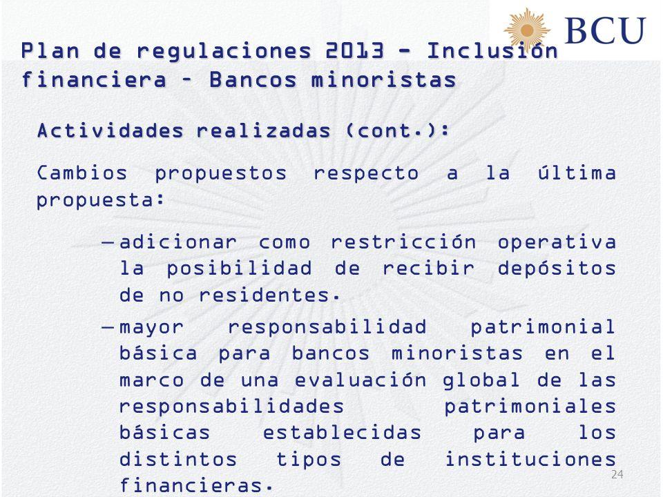 24 Actividades realizadas (cont.): Cambios propuestos respecto a la última propuesta: –adicionar como restricción operativa la posibilidad de recibir