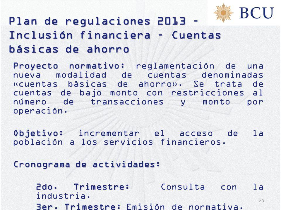 25 Plan de regulaciones 2013 – Inclusión financiera – Cuentas básicas de ahorro Proyecto normativo: Proyecto normativo: reglamentación de una nueva mo