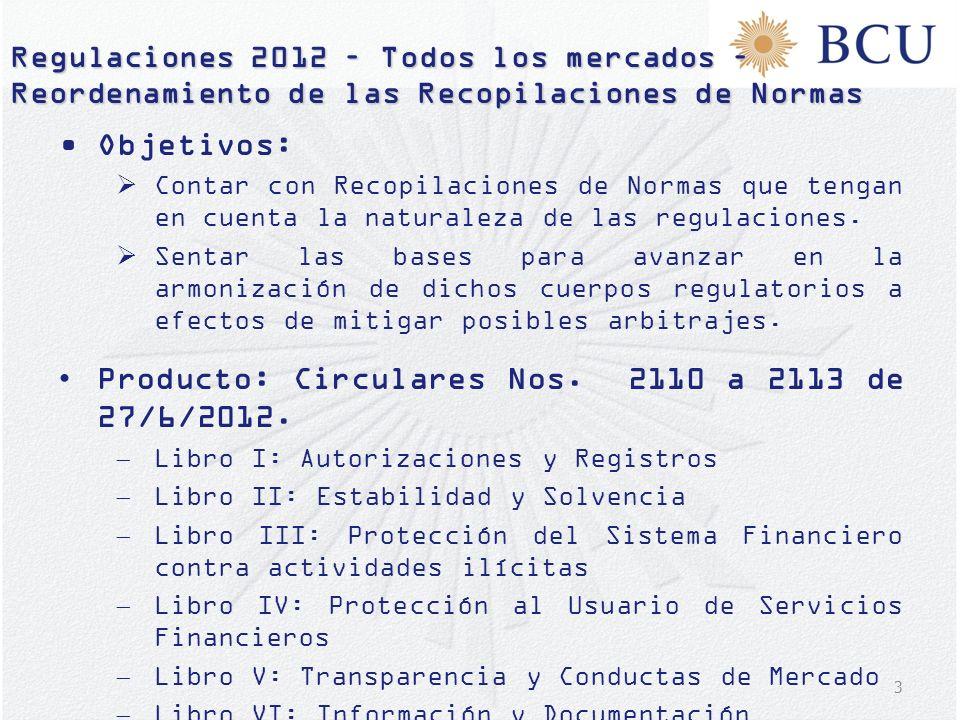 3 Regulaciones 2012 – Todos los mercados – Reordenamiento de las Recopilaciones de Normas Objetivos: Contar con Recopilaciones de Normas que tengan en